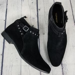 TOPMAN | studded side zip faux suede ankle boot